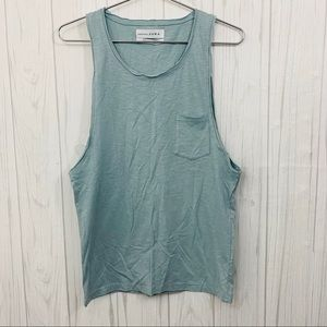 ZARA ESSENTIALS SLUB COLLECTION BLUE TOP SMALL